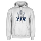 White Fleece Hoodie-Soccer Stacked Geometric