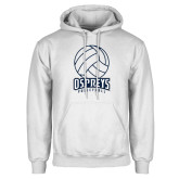 White Fleece Hoodie-Volleyball Stacked