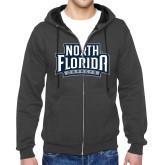 Charcoal Fleece Full Zip Hoodie-North Florida Ospreys