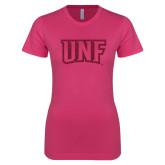 Ladies SoftStyle Junior Fitted Fuchsia Tee-UNF Monogram Hot Pink Glitter