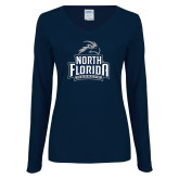Ladies Navy Long Sleeve V Neck Tee-Official Logo