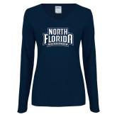 Ladies Navy Long Sleeve V Neck Tee-North Florida Ospreys