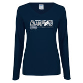 Ladies Navy Long Sleeve V Neck Tee-2017 ASUN Conference Womens Cross Country Champions