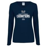 Ladies Navy Long Sleeve V Neck Tee-2018 Mens Tennis Champions