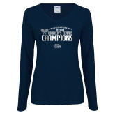 Ladies Navy Long Sleeve V Neck Tee-2018 Womens Tennis Champions