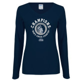 Ladies Navy Long Sleeve V Neck Tee-2018 ASUN Mens Cross Country Champions