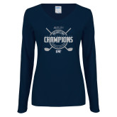 Ladies Navy Long Sleeve V Neck Tee-2018 Mens Golf Champions