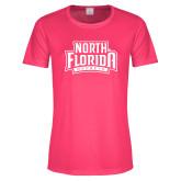 Ladies Performance Hot Pink Tee-North Florida Ospreys
