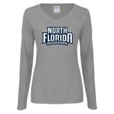 Ladies Grey Long Sleeve V Neck Tee-North Florida Ospreys