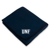 Navy Arctic Fleece Blanket-UNF Monogram