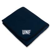 Navy Arctic Fleece Blanket-UNF Monogram