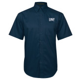 Navy Twill Button Down Short Sleeve-UNF Monogram