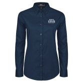 Ladies Navy Twill Button Down Long Sleeve-North Florida Ospreys
