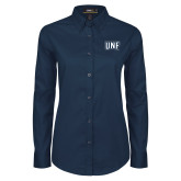 Ladies Navy Twill Button Down Long Sleeve-UNF Monogram