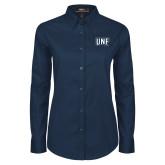 Ladies Navy Twill Button Down Long Sleeve-UNF Monogram