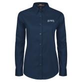 Ladies Navy Twill Button Down Long Sleeve-Ospreys Word Mark