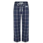 Navy/White Flannel Pajama Pant-UNF Monogram