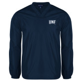 V Neck Navy Raglan Windshirt-UNF Monogram