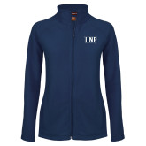 Ladies Fleece Full Zip Navy Jacket-UNF Monogram