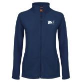 Ladies Fleece Full Zip Navy Jacket-UNF Monogram