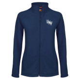 Ladies Fleece Full Zip Navy Jacket-Diagonal UNF Monogram