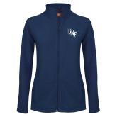 Ladies Fleece Full Zip Navy Jacket-Diagonal UNF Monogram