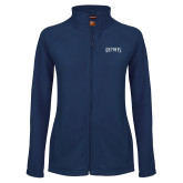 Ladies Fleece Full Zip Navy Jacket-Ospreys Word Mark