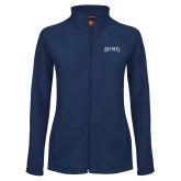 Ladies Fleece Full Zip Navy Jacket-Ospreys Word Mark