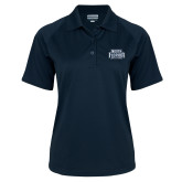 Ladies Navy Textured Saddle Shoulder Polo-North Florida Ospreys