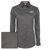 Ladies Grey Tonal Pattern Long Sleeve Shirt-UNF Monogram