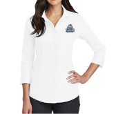 Ladies Red House White 3/4 Sleeve Shirt-Official Logo