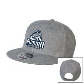 Heather Grey Wool Blend Flat Bill Snapback Hat-Official Logo