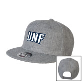 Heather Grey Wool Blend Flat Bill Snapback Hat-UNF Monogram