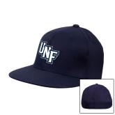 Navy OttoFlex Flat Bill Pro Style Hat-Diagonal UNF Monogram