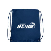 Nylon Navy Drawstring Backpack-Upward Stars Basketball