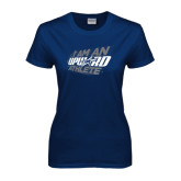 Ladies Navy T Shirt-I Am An Upward Athlete