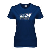 Ladies Navy T Shirt-I Am An Upward Stars Athlete