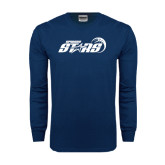 Navy Long Sleeve T Shirt-Upward Stars Basketball