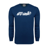 Navy Long Sleeve T Shirt-Upward Stars Volleyball