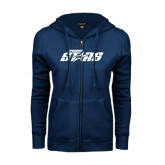 ENZA Ladies Navy Fleece Full Zip Hoodie-Upward Stars
