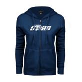 ENZA Ladies Navy Fleece Full Zip Hoodie-Upward Stars