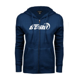 ENZA Ladies Navy Fleece Full Zip Hoodie-Upward Stars Basketball