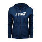 ENZA Ladies Navy Fleece Full Zip Hoodie-Upward Stars Basketball