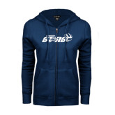 ENZA Ladies Navy Fleece Full Zip Hoodie-Upward Stars Volleyball