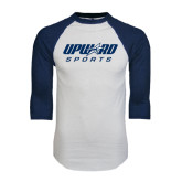 White/Navy Raglan Baseball T-Shirt-Upward Sports