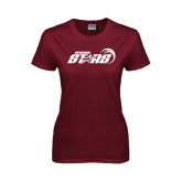 Ladies Maroon T Shirt-Upward Stars Basketball