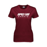 Ladies Maroon T Shirt-Upward Sports