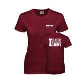 Ladies Maroon T Shirt-Upward Sports