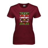Ladies Maroon T Shirt-Upward Christmas Shirt