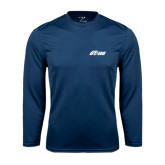 Performance Navy Longsleeve Shirt-Upward Stars